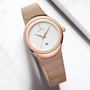 NAVIFORCE Watch Women Fashion Dress Quartz Watches Lady Stainless Steel Waterproof Wristwatch Simple Girl Clock Relogio Feminino