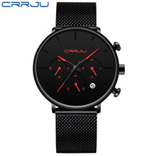 Load image into Gallery viewer, Relogio Masculino CRRJU Mens Business Dress Watches Luxury Casual Waterproof Sport Watch Men 3-Sub Dial Quartz Slim Mesh Watch