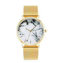 Load image into Gallery viewer, Fashion Rose Gold Mesh Band Creative Marble Female Wrist Watch Luxury Women Quartz Watches Gifts Relogio Feminino ping
