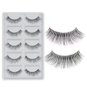 5 Pairs Natural Black Long Sparse Cross False Eyelashes Fake Eye Lashes Extensions Makeup Tools