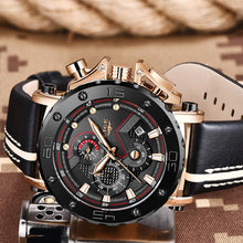 Load image into Gallery viewer, Relogio Masculino 2019 New LIGE Sport Chronograph Mens Watches Top Brand Casual Leather Waterproof Date Quartz Watch Man Clock