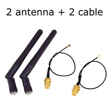 Load image into Gallery viewer, 2PCS/lot 2.4GHz 3dBi WiFi 2.4g Antenna Aerial RP-SMA Male wireless router+ 17cm PCI U.FL IPX to RP SMA Male Pigtail Cable