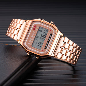 Luxury Women's Rose Gold Stainless Steel Watches Women Fashion LED Digital Clock Casual Ladies Electronic Watch Reloj Mujer 2019