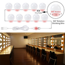 Load image into Gallery viewer, Hollywood Vanity Makeup Mirror Light Bulb USB 5V Make Up Lamp Dressing Table 6 10 14 Bulbs Kit Bathroom Cosmetic Lights Bedroom