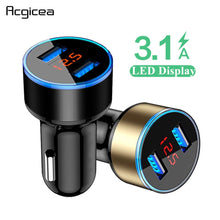 Load image into Gallery viewer, 3.1A Dual USB Car Charger With LED Display Universal Mobile Phone Car-Charger for Xiaomi Samsung S8 iPhone 6 6s 7 8 Plus Tablet