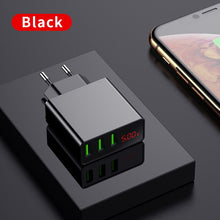 Load image into Gallery viewer, LED Display EU US 3 Port USB Charger 3A Mobile Phone USB Charger Fast Charging Wall Charger For iPhone 6 Samsung Xiaomi LG