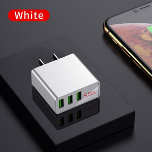 LED Display EU US 3 Port USB Charger 3A Mobile Phone USB Charger Fast Charging Wall Charger For iPhone 6 Samsung Xiaomi LG