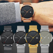 Load image into Gallery viewer, Mens Watches Business Sports Leisure Quartz WristWatch Stainless Steel Mesh Strap Ultra Thin Dial Date Clock Relogio Masculino