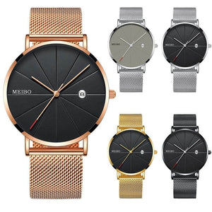 Mens Watches Business Sports Leisure Quartz WristWatch Stainless Steel Mesh Strap Ultra Thin Dial Date Clock Relogio Masculino