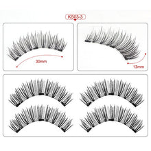 Load image into Gallery viewer, Magnetic eyelashes with 3 magnets handmade 3D/6D magnetic lashes natural false eyelashes magnet lashes with gift box-24P-3