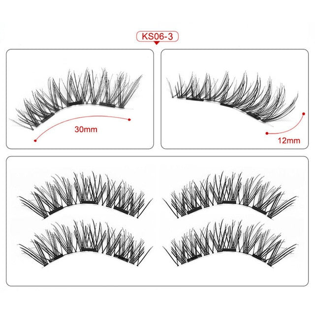 Magnetic eyelashes with 3 magnets handmade 3D/6D magnetic lashes natural false eyelashes magnet lashes with gift box-24P-3