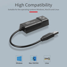 Load image into Gallery viewer, USB to RJ45 10/100 Mbps USB Ethernet Adapter Network card LAN USB Network Adapter Lan RJ45 Card for PC laptop Win7 Andriod Mac