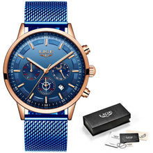 Load image into Gallery viewer, LIGE New Mens Watches Male Fashion Top Brand Luxury Stainless Steel Blue Quartz Watch Men Casual Sport Waterproof Watch Relojes
