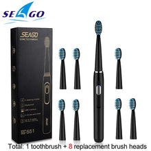 Load image into Gallery viewer, Seago Sonic Rechargeable Electric Toothbrush with 3 Replacement Brush Heads 2 Minutes Timer & 4 Brushing Modes Waterproof SG551