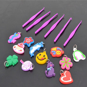 Tools rubber loom bands for children girl gift diy set pendant crochet s buckles Hooks knit tools for weaving lacing bracelet