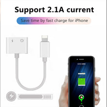 Load image into Gallery viewer, !ACCEZZ For iPhone Adapter 2 in 1 For Apple iPhone XS MAX XR X 7 8 Plus IOS 12 3.5mm Jack Earphone Adapter Aux Cable Splitter