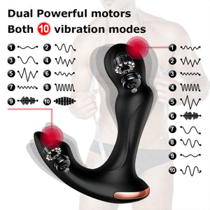 Sex Toys For Men Prostate Massager Vibrator Butt Plug Anal Tail Rotating Wireless Remote USB Charging Adult Products For Man