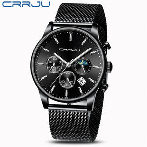 CRRJU New Blue Casual Mesh Belt Fashion Quartz Gold Watch Mens Watches Top Brand Luxury Waterproof Clock Relogio Masculino