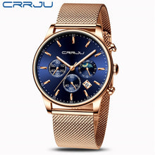 Load image into Gallery viewer, CRRJU New Blue Casual Mesh Belt Fashion Quartz Gold Watch Mens Watches Top Brand Luxury Waterproof Clock Relogio Masculino