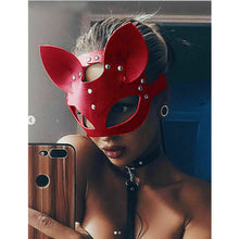 Load image into Gallery viewer, Cosplay Sexy Cat Mask Women Girl Party Costume PVC Bondage Masks Adult Play Special Cat Ears Adjustable Design Masks Black Red