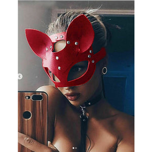 Cosplay Sexy Cat Mask Women Girl Party Costume PVC Bondage Masks Adult Play Special Cat Ears Adjustable Design Masks Black Red