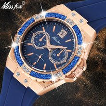 Load image into Gallery viewer, MISSFOX Women's Watches Chronograph Rose Gold Sport Watch Ladies Diamond Blue Rubber Band Xfcs Analog Female Quartz Wristwatch