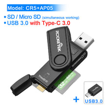 Load image into Gallery viewer, Rocketek USB 3.0 Multi Memory Card Reader OTG Type c Android Adapter Cardreader for Micro SD/TF CF MS Microsd Readers Computer