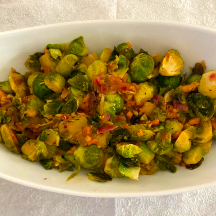Roasted Brussels Sprout Arugula Salad (Serves 4)