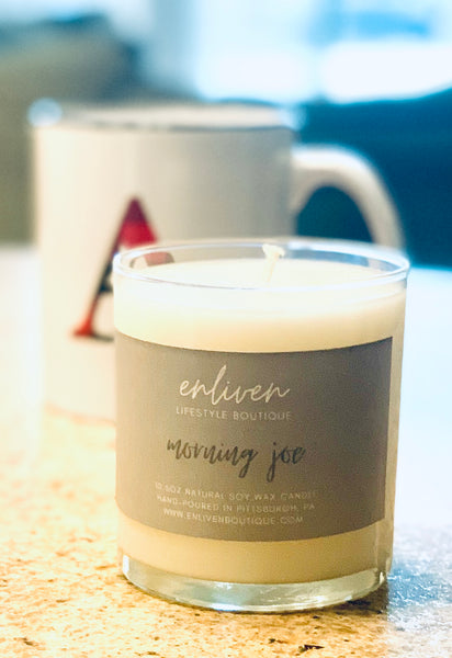 Natural Soy Wax Glass Jar Candle | Morning Joe (Hazelnut Coffee) Scent