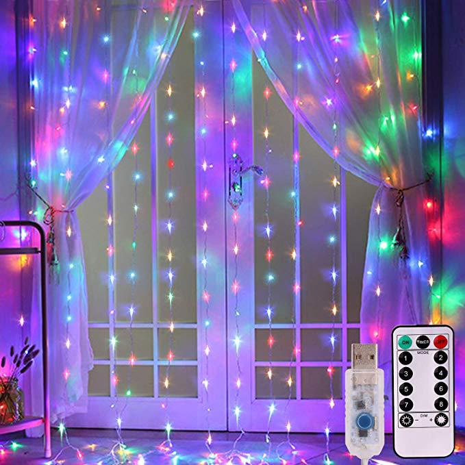 Remote Control LED Curtain String Lights