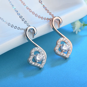 S925 Silver Necklace Zircon Diamond Swan Heart Pendant