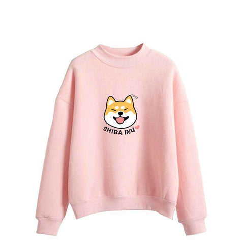 Pull shiba inu pour Femme rose