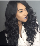 24Inches Best Virgin Hair Jet Black Sex Wave 360 Lace Wig