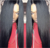 Pre Plucked Best Brazilian Virgin Straight Black Hair Lace Front Wig