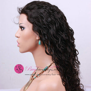Natural Hairline Best Virgin Natural Black Color Curly Front Lace Wig