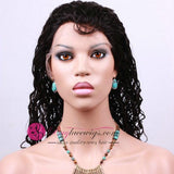 Pre Bleached Konts Best Virgin Hair Natural Black Curly Front Lace Wig