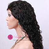 70% Off Best Virgin Natural Black Color Curly Front Lace Wig