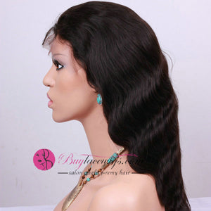 82% Off Best Virgin Hair Natural Black Body Wave Lace Front Wig