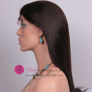 Quality Virgin Human Straight Hair Dark Brown Front Lace Wig
