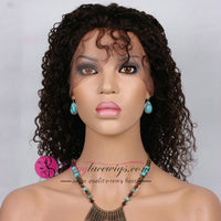 Best Virgin Human Natural Black Hair Jerry Curl Front Lace Wig