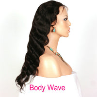 Pre Bleached Knots Best Virgin Human Hair Water Wave 360 Lace Wig