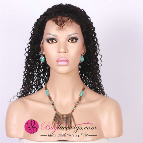 Pre Bleached Best Virgin Remy Jet Black Jerry Curl Full Lace Wig