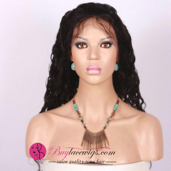 Pre Bleached Best Virgin Natural Black Deep Wave Full Lace Wig