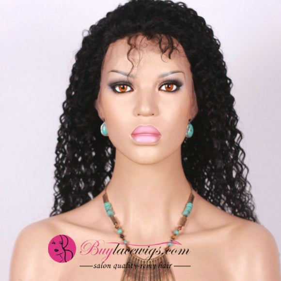 78% Off Afro Curly Pre Bleached Knots Virgin Hair 360 Lace Wig