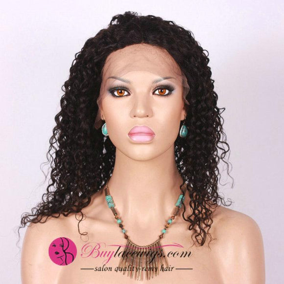 Natural Black Virgin Human Hair Afro Curl Full Lace Wig