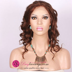 Light Auburn Pre Bleached Knots Virgin Hair Sexy Curl Full Lace Wig