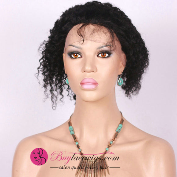 Pre Bleached Knots Afro Virgin Hair Jet Black 13X4 Lace Front Wig