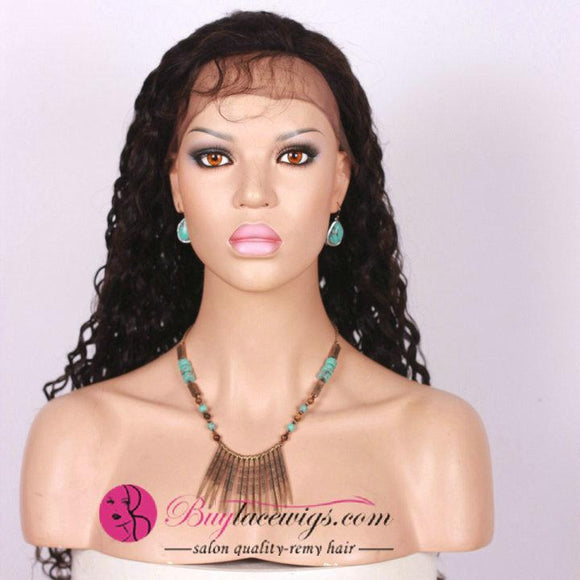 Pre Bleahed Knots 24 Inch #1b Water Wave Virgin Hair Full Lace Wig