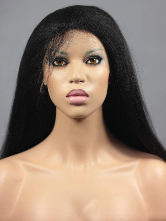 Pre Bleached Knots Best Virgin Kinky Straight Hair Front Lace Wig