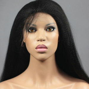 Best Virgin Human Hair Jet Black Kinky Straight 360 Lace Wig